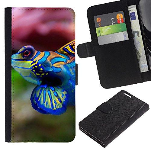 EuroCase - Apple Iphone 6 PLUS 5.5 - Cool Neon Coral Fish - Cuir PU Coverture Shell Armure Coque Coq Cas Etui Housse Case Cover