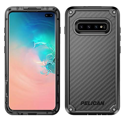 (Pelican Shield Samsung Galaxy S10+ Phone Case, 5-Layer Extreme Protective Smartphone Cover, 12-Foot Drop Protection, Kickstand Belt Clip Accessory (Black) )
