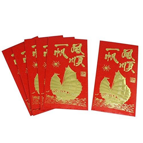 sourcingmap Enveloppes Rouges pour Festival Chinois Printemps Souhaits Bonheur Chance Argent (lot de 6)