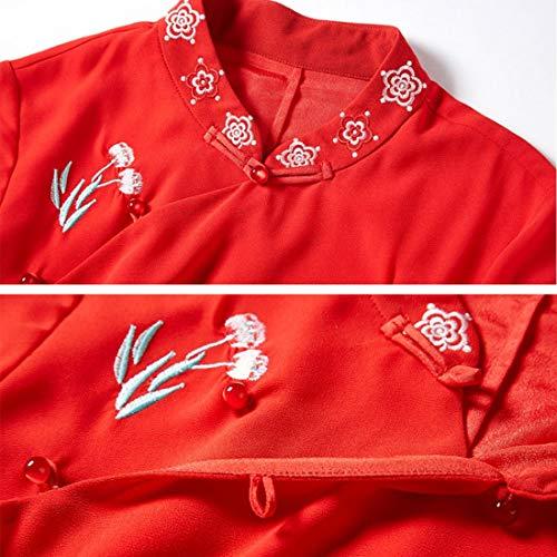 Abito Da Size S Manica Donna Ricamo A Red Jiuyizhe color Black Con Floreale Mezza d5P6qx7F