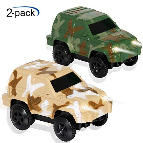 Car track Toys Racing Cars Flashing Lights Toy Glow in the Dark Racing Track Accessories Compatible with Most Tracks for Boys and Girls 2,3,4 Years Olds Mini Camouflage ()