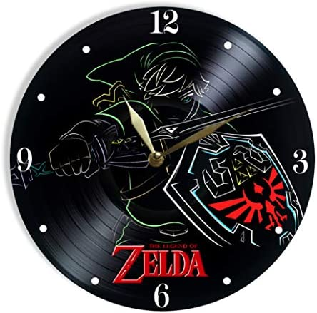 MiraG The Legend of Zelda Painted Vinyl Clock – The Legend of Zelda Colored Wall Clock – Unique Gifts for Fans The Legend of Zelda – The Best Home Decor