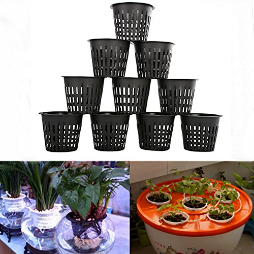 MAXGOODS 10Pcs Slotted Mesh Net Pots,Heavy Duty Net Cup Basket for Hydroponic Aquaponics Orchids,Black