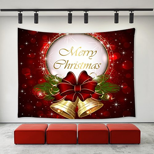 LBKT Christmas Day Tapestry Wall hanging Happy New Year Custom Xmas Merry Christmas Bell Red Pattern Tapestries Wall Decor Art Home Decoration for Bedroom Living Room Dorm Decor ()
