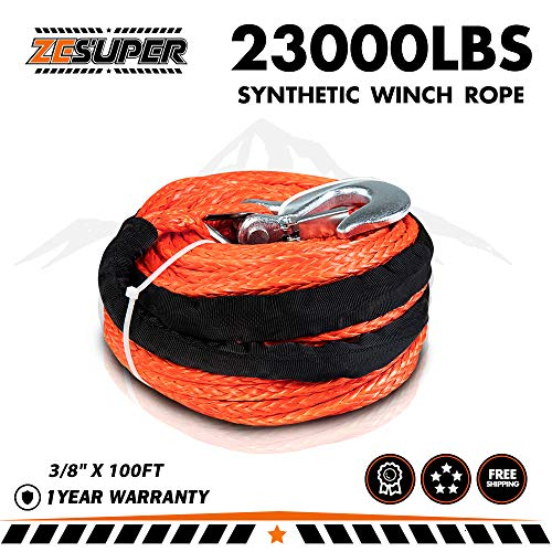 "ZESUPER SK75 3/8"" x 100ft Dyneema Synthetic Winch Rope with"