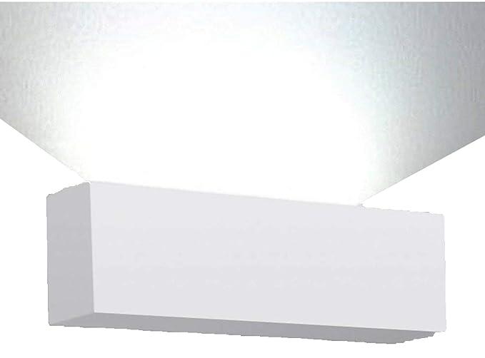 MiniSun - Moderno aplique de pared rectangular en cerámica blanca, con salida de luz por