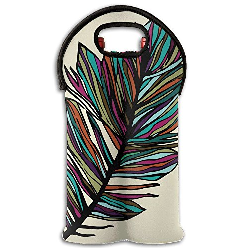Fomete Feather Wine Travel Carrier & Cooler Bag 2-bottle Wine Carrying Tote ()