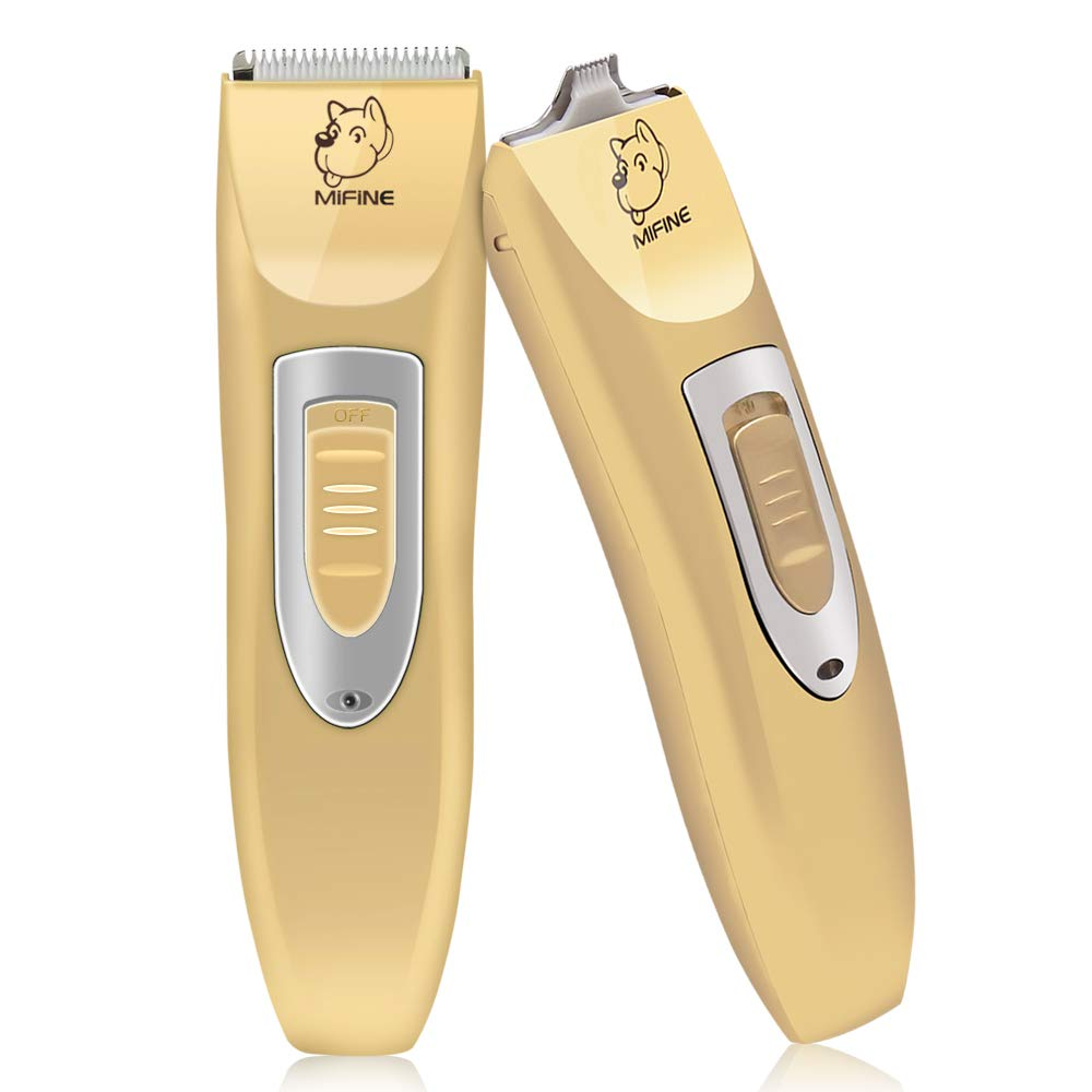 Mifine Professional Dog Clippers Kit Rechargeable - Dog Grooming Clippers and Cordless Pet Clippers Suitable Dogs, Cats and Other Animals, Eyes, Face, Ears, Paw, Around Rump (Gold) by Mifine