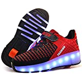 SDSPEED Kids Roller Skate Shoes with Single Wheel Shoes Sport Sneaker 7 Colors LED Rechargeable (LED Chameleon Red, 11 M US Little Kid)