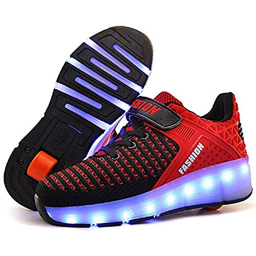 SDSPEED Kids Roller Skate Shoes with Single Wheel Shoes Sport Sneaker 7 Colors LED Rechargeable (LED Chameleon Red, 2.5 M US Little Kid) ()