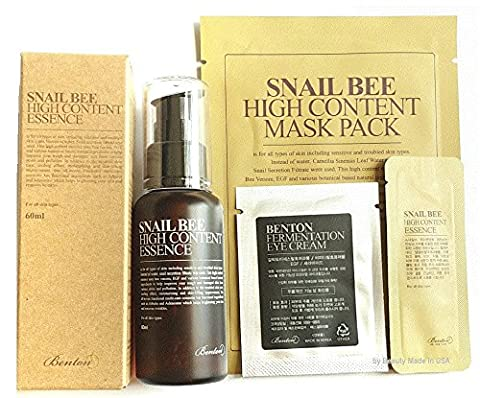Benton Snail Bee High Content Essence 60ml 1pc & 1mask with 2 Benton Samples ( Eye Cream & Essence ) (Snail Bee Essence)