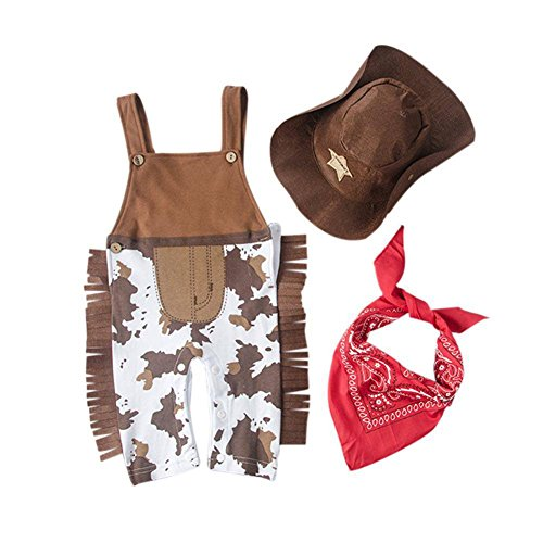 Weixinbuy Baby Boy Cowboy Romper + Hat Scarf Outfit Clothes Bodysuit Jumpsuit (Cowboy Outfit Kids)