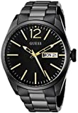 GUESS Men's U0657G2 Trendy Black Stainless Steel Watch with Day & Date Dial and Black Deployment Buckle