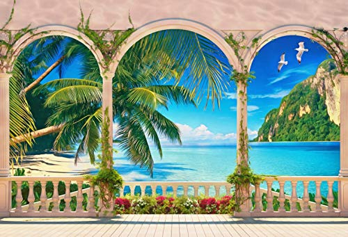 Bay Terrace - 7x5ft Terrace Tropical Bay with Green Plants Palms and Mountain Pictorial Cloth Customized Photography Backdrops Digital Printing Background Photo Studio Prop
