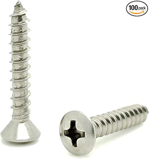 #8 X 1 18-8 TypeA 300 pcs Self-Tapping Sheet Metal Screws AISI 304 Stainless Steel Round Phillips Drive