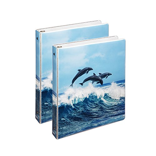 COMIX 2 Pack Letter Size, Heavy Duty Premium Designer 3 Round Ring Binder 1 Inch BACK TO SCHOOL/CAMPUS (A2134) (Air Dolphins)