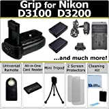 Professional Vertical D3100 D3200 Multi-Purpose Battery Grip for Nikon D3100 D3200 DSLR Camera + 2 EN-EL14 Long Life Batteries + AC/DC Turbo Charger With Travel Adapter + Universal Wireless Remote + All-In-One Card Reader + Complete Deluxe Starter Kit (BG