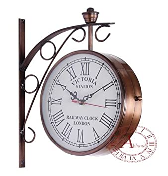 akhandstore double side 10 inch clock dia metal railway clock antique wall clock copper finish laquired