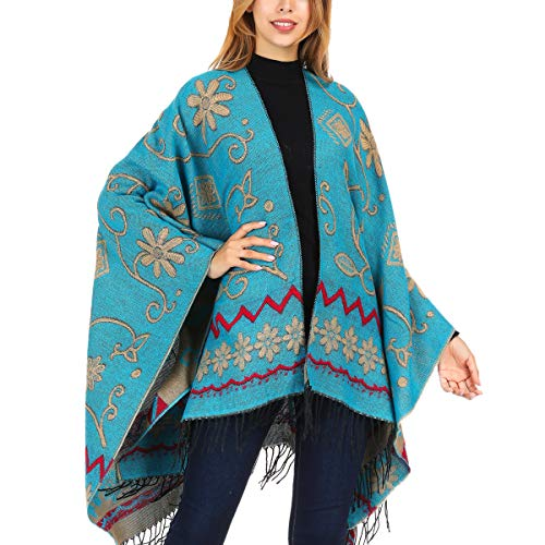 Wool Wrap Knit - DoFiyeng Women Poncho Shawl Poncho Cape Cardigan Open Front Elegant Cape Wrap Shawl Wrap(Blue pattern)