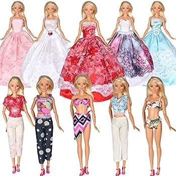 5bd5d8d6f5 Tanosy 10 Items Dresses 5 PCS Fashion Wedding Party Gown Dresses 3 Sets  Clothes and 2
