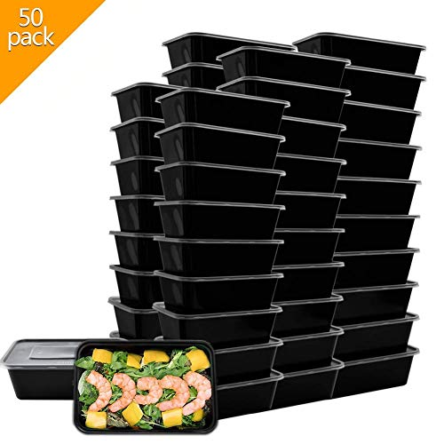 Meal Prep Containers BPA Free Plastic Lunch Box Food Storage Microwave/Dishwasher/Freezer Safe 26 oz Food Containers Bento Lunch Box(50 Pack)
