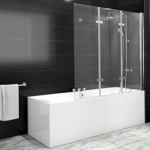 Duschabtrennung Badewanne Duschwand Badewannenfaltwand Glas Dusche 3 Flügel Nano - rechts