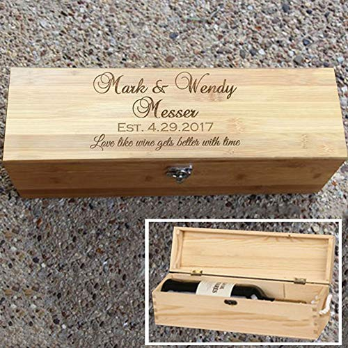 Clibesty Personalized Wooden Wine Box, Wedding Gift Box, Anniversary Wine Box, Custom Engraved Gift Single Wine Box (Wooden)