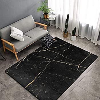 Bedroom Living Room Kitchen King Size Kitchen Rugs Home Decor - Black Gold Marble Floor Mat Doormats Quick Dry Throw Bath Rugs Exercise Mat Throw Rugs Carpet