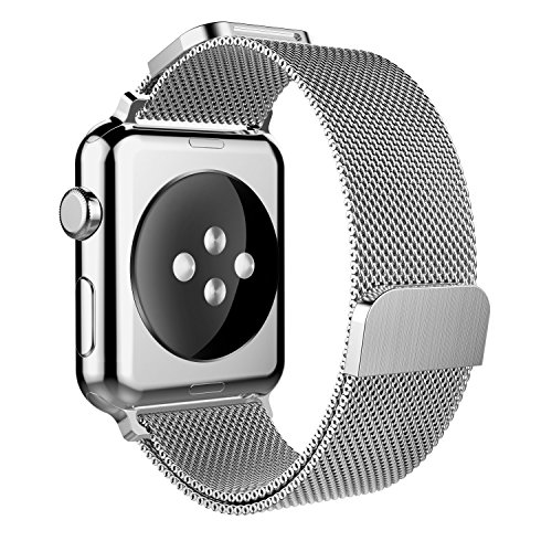 Yaber Stainless Steel Mesh Milanese Loop Bilateral Adjustable Magnetic Closure Replacement Band Apple Watch Series 1/2/3 (38MM-Silver)