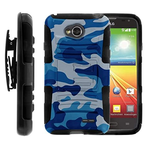 LG Ultimate 2 Case, LG Ultimate 2 Holster, Two Layer Hybrid Armor Hard Cover with Built in Kickstand for LG Optimus L70 MS323, LG Optimus Exceed 2 VS450PP, LG Realm LS620, LG Ultimate 2 L41C (Metro PCS, Verizon, Boost Mobile) from MINITURTLE | Includes Screen Protector - Blue (Cover De Lg 70)