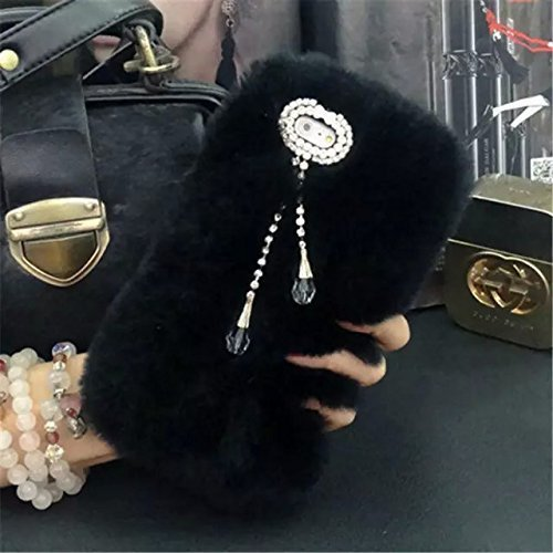Case for ipod Touch 6,Super Deluxe Luxury Faux Rabbit Fur Fuzzy Plush Beaver Rex Rabbit Hair Fur Case for Apple iPod touch 5 6th Generation (Pendant Black)