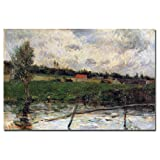 This ready to hang, gallery-wrapped art piece features a river and a field. Paul Gauguin was a leading Post-Impressionist painter. His bold experimentation with coloring led directly to the Synthetist style of modern art while his expression of the i...