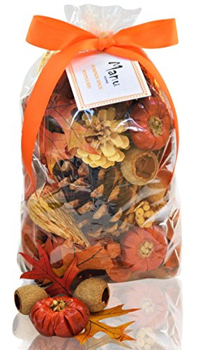 Manu Home Pumpkin Spice Large Potpourri Bag-12 oz Botanicals ~ Made with All Essential Oils, Plant Materials and Beautiful Fall Colors~ Made in USA by Manu Home