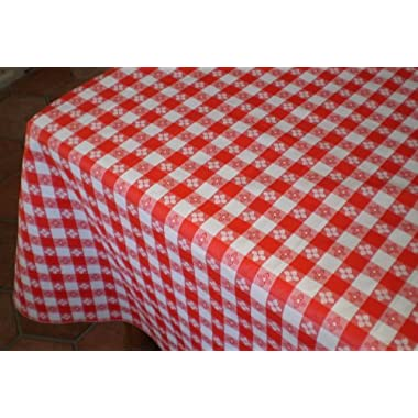 Blue Hill, 52 x90 ; Classic Red Tavern Check, Flannel Backed, Vinyl Tablecloth;  Made in the U.S.A