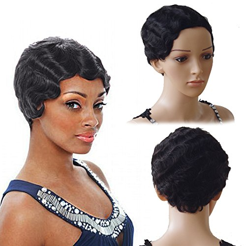 New Trendy Short Finger Wave Mommy Wig For Costume Party Dress 100% Virgin Human Hair with Rose Net (Off Black 1B)
