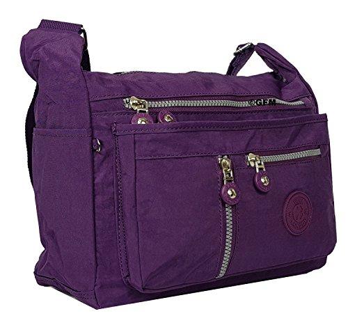 pour femme en de tissu Messenger GFM Poches Sac sac 25 à GHJMN Sac multiples Croix léger bandoulière Purple Corps S4 qBg05gdn