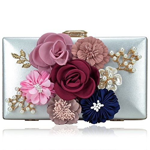 Women Flower Clutches Handbags Designer Evening Bags Prom Party Wedding Cocktail Purses with Pearls (Metallic Designer Purse)