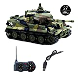 Fun-Here mini RC Tank with USB charger cable Remote Control Panzer tank 1:72 German Tiger I with Sound, Rotating Turret and Recoil Action When Cannon Artillery Shoots (Green)