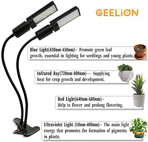 LED Grow Light for Indoor Plant Light Sunlike Full Spectrum Grow Lamp Dual Head Gooseneck Plant Grow Light with Replaceable Bulbs Adjustable Growing lamp for Hydroponic Succulent Seedlings Greenhouse