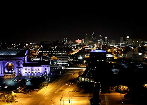 Kansas City Downtown Union Station at Night with an Extended Exposure, Purple Building, Yellow Streetlights, Nighttime Photo, 5x7 Matted Photographic Print (fits 8x10 - City Union Station