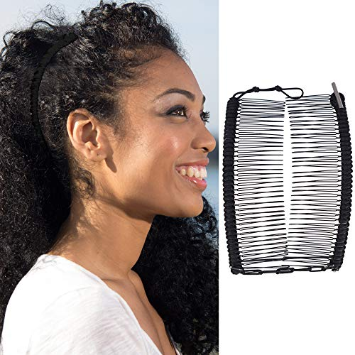 Banana Clip for Thick, Curly, Kinky Hair - Put Your Hair Up in Seconds with No Damage, Creases, or Pain - Make Comfy UpDo, Ponytail, French Twist, Bun, or Afro - Double Comb Accessory (Black Large)