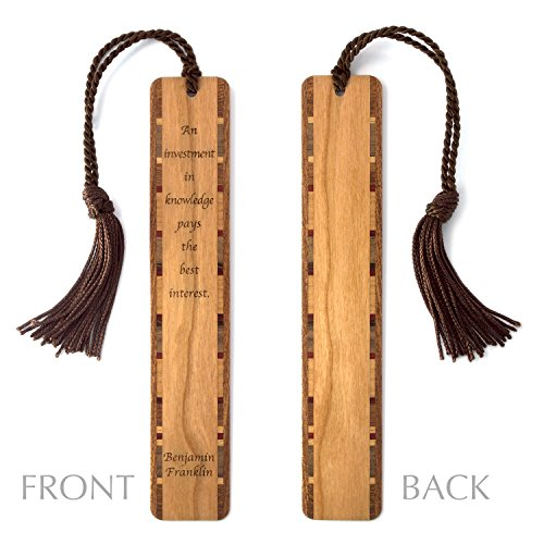 Benjamin Franklin- Knowledge Quote Wooden Bookmark with Tassel - Personalized version also available - search - Of Bifocals Inventor