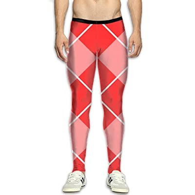 Fri Plaid Long Compression Pants/Running Tights Base Layer Pants Men Fitness Worker Drawstring
