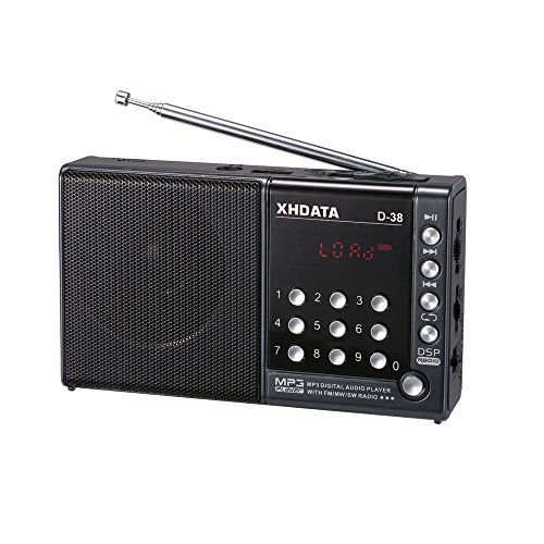 (XHDATA D-38 Portable Radio FM-Stereo/MW / SW / MP3-Player/DSP Vollband Radio (Gray))