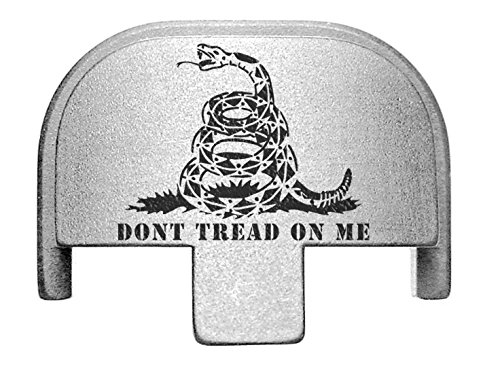 NDZ Performance Rear Slide Cover Plate for Smith & Wesson Self Defense S&W SD9 SD40 VE 9mm .40 Silver Custom Laser Engraved Image: Don't Tread on Me Snake Squares
