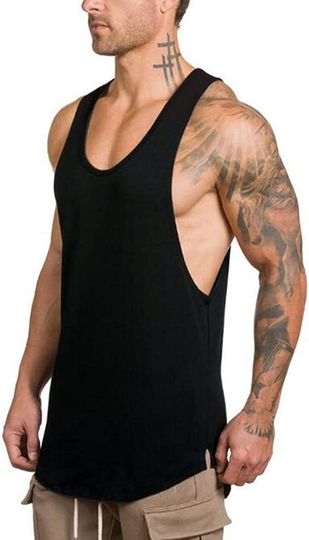 ROBO Mens Round Neck Sleeveless Stringer Bodybuilding Gym Tank Tops Workout Fitness Vest Shirt
