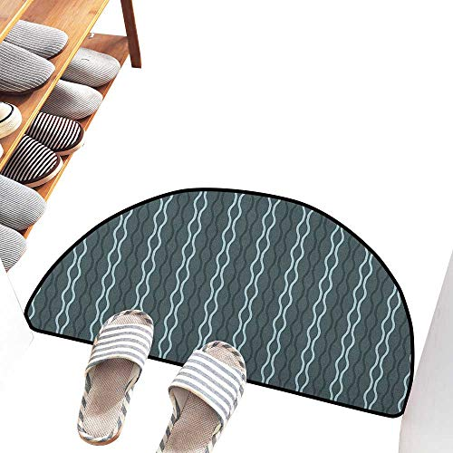 Interesting Doormat Blue Ocean Under The Sea Wave Lines Zebra Inspired Stipes Image Easy to Clean Carpet W36 xL24 Slate Blue Sky Blue and Almond Green