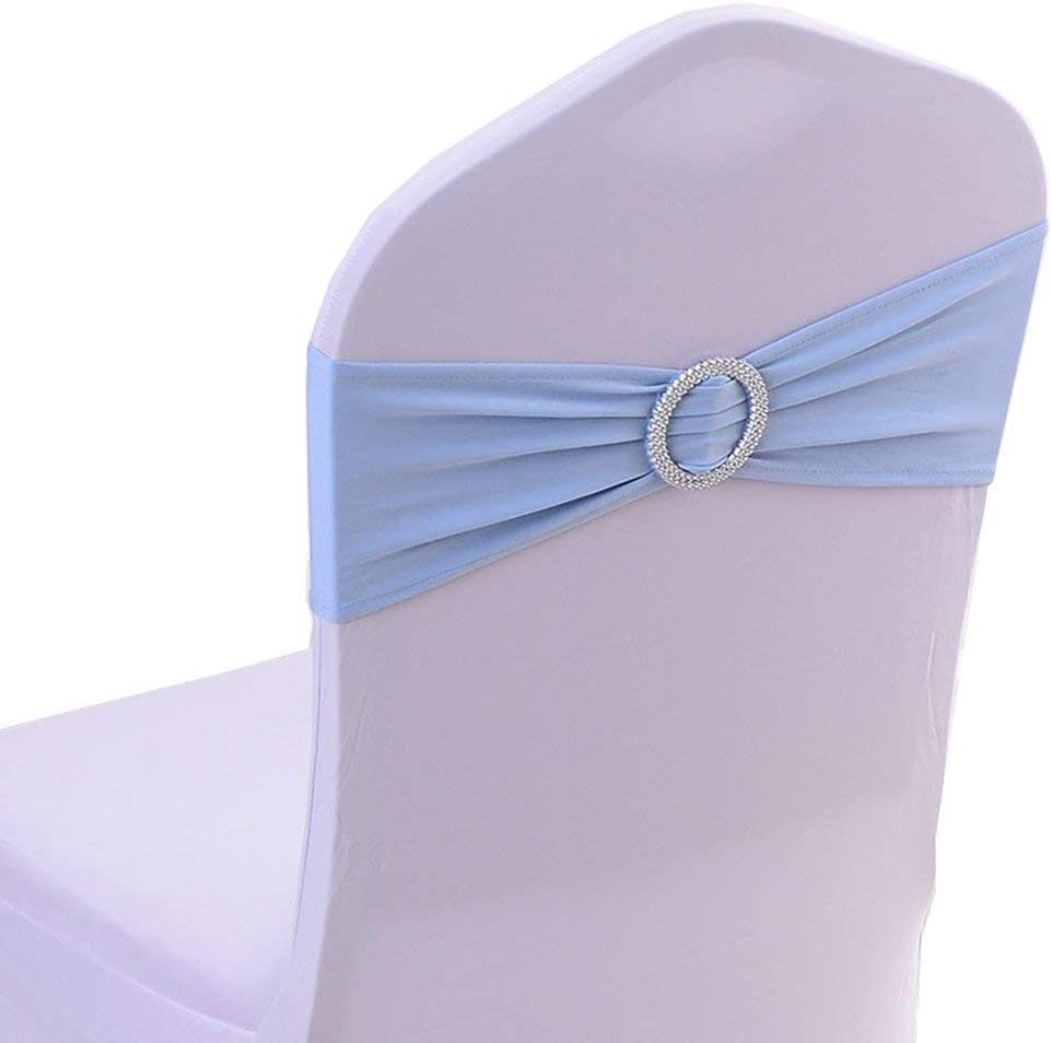 Joe&Lory 10 Pcs Stretch Spandex Chair Sashes Bands with Buckle Slider Sashes Bowfor Wedding Party Decoration Soft Sashes (Baby Blue): Home & Kitchen