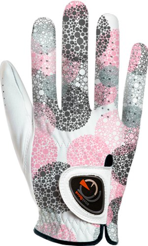 (easyglove SPRING_BUBBLE-PURPLE-W-R Women's Golf Glove (White), X-Large, Worn on Right Hand)