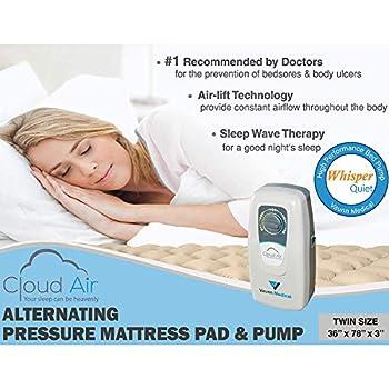 Vaunn Medical Cloud Air Whisper Quiet Alternating Air Pressure Mattress Topper with Pump (2019 Upgraded Model) Twin Size 36